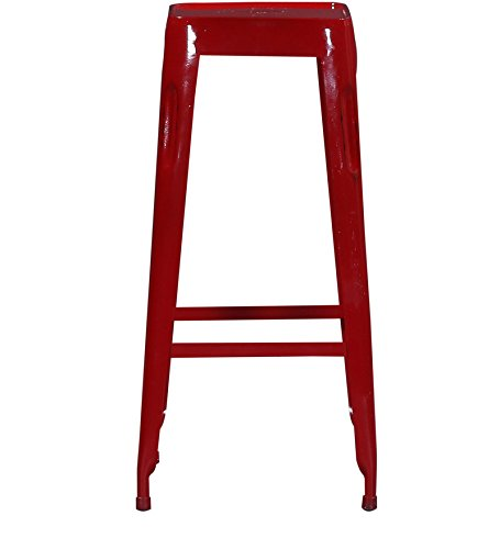 Iron Top Bar Stool in Red