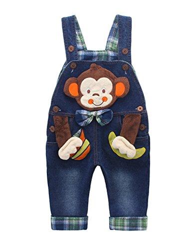 Baby Jungen Mädchen Denim Latzhose Kleinkind Hosenträger Jeans Overall Affe mit Schleife - 80
