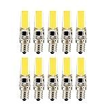 Lampadine a LED in silicone E12, lampadine a risparmio energetico COB da 3 W a doppio ago (lampada alogena sostitutiva equivalente da 30 W) AC220-240V, (confezione da 10) yd&h