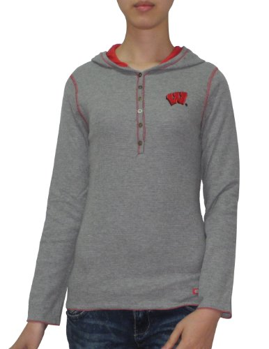 Slim Fit Pull ¨¤ capuche NCAA Badgers du Wisconsin T-Shirt Gris