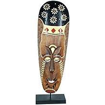 CAPRILO Figura Decorativa Africana de Madera Máscara con Base. Adornos y Esculturas. Animales.