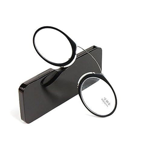 Meijunter Pince Nez Style Mini Nase Lesebrille Tragbare Geldbörse Lesebrille mit Etui (schwarz/Stärke:+2.0)