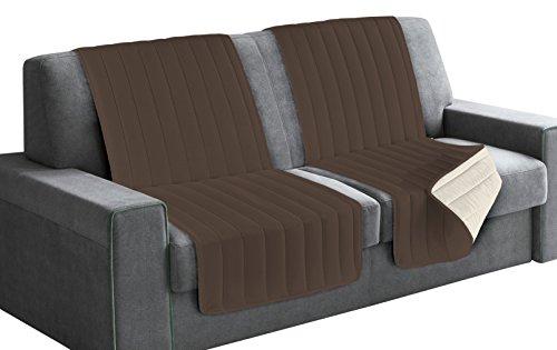 Italian bed linen seduta fascia copridivano, microfibra, marrone/panna, 190x60x6 cm