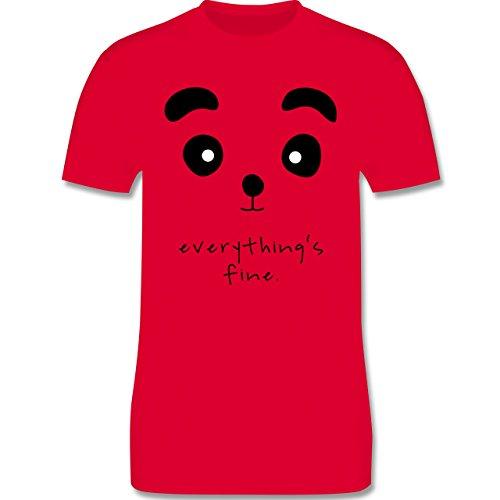 Eulen, Füchse & Co. - Panda everything's fine - Herren Premium T-Shirt Rot