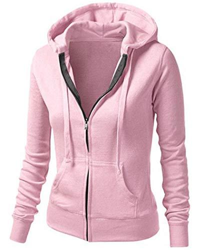 Sports Jacket Damen Fitness Sweatshirts voll Zip atmungsaktiv Langarm Funktionsshirt Lauf Jacke Hoodie Longsleeves Shirts Gr.S bis XL Pink M -