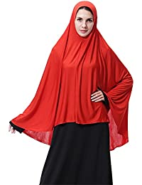 GladThink Mujeres musulmanas estilo largo Hijab Negro
