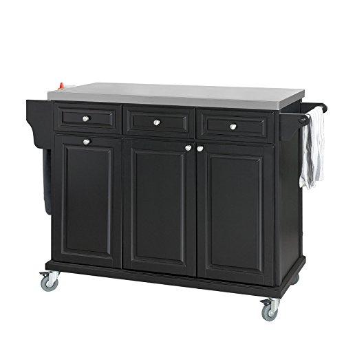 SoBuy® Carrito de cocina con piso de acero, estantería de cocina, carrito de servir de alta calidad, negro, FKW33-SCH, ES
