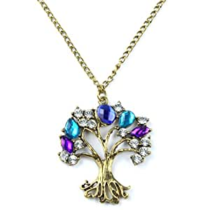 eFuture(TM) Antique Bronze Women's Wishing Tree Pendant Crystal Long Chain Necklace With Keyring