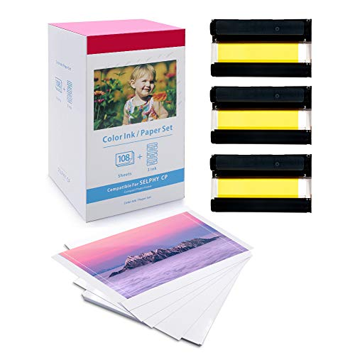 Oozmas kompatibleFotopapierals Ersatz für Canon Selphy KP-108IN Selphy Kartusche und Papier für Canon Selphy CP1200 CP1300 CP1000 CP910 CP900, 3 Ribbon + 108 Fotopapier 100 x 148 mm