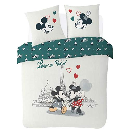 Funda nórdica de 220 x 240 cm, diseño de Mickey & Minnie con Texto Love in...