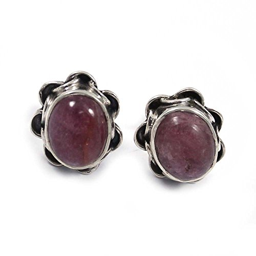 Goyal Impex Solid 925 Sterling Silver Stud Earing Handmade Natural Tourmaline Gemstone ED-69