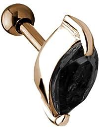Ohr Piercing Tragus Helix Ohrschmuck rose mit ovalem Kristall TIP154-A rose