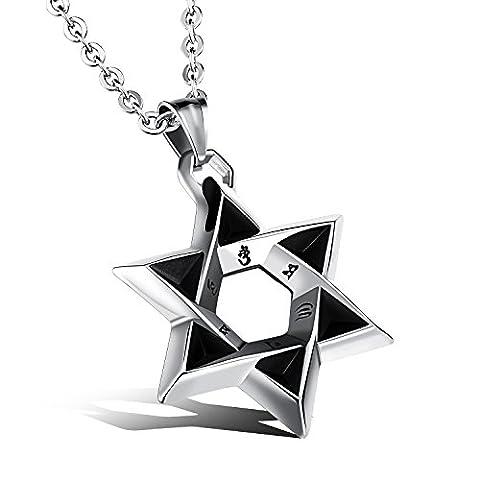 Fate Love hommes de–Collier Femme–Pendentif étoile de David juive en acier inoxydable Argenté Poli avec chaîne 49,8cm