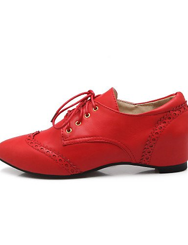 ZQ 2016 Scarpe Donna - Stringate - Casual - Comoda / A punta - Zeppa - Finta pelle - Nero / Rosa / Rosso / Beige , red-us8.5 / eu39 / uk6.5 / cn40 , red-us8.5 / eu39 / uk6.5 / cn40 beige-us8.5 / eu39 / uk6.5 / cn40