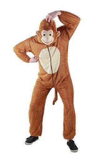 Foxxeo Affen Kostüm für Erwachsene Damen und Herren Tierkostüm Overall Jumpsuit Größe L