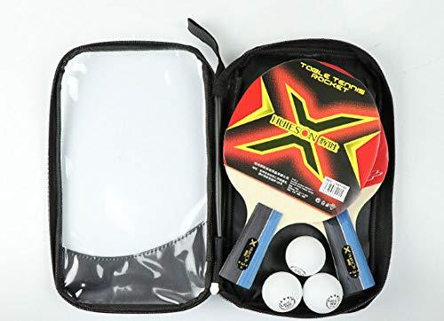 WTFxiao Professionelles Tischtennisschläger-Set für Anfänger und Sportler, Fortgeschrittener Ping-Pong-Schläger mit 3-Sterne-Bällen (40 mm) und tragbarer Paddeltasche,M