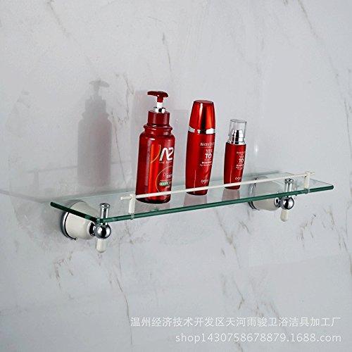 QUEEN'S European copper roasting white cosmetics single layer glass bathroom shelf , Silver