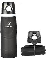 Cornmi plegable de silicona botella de agua con gancho semitransparente portátil no tóxico Material de grado de alimentos de alta resistencia a la temperatura para deportes al aire libre 750ml (26.5oz), negro