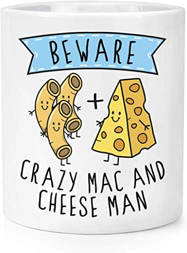 Beware Crazy Mac and Cheese Man Makeup Brush Pencil Pot