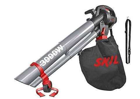 Skil 0796AA Aspirateur Souffleur et Broyeur de Feuilles avec Roulettes pivotantes et Variateur de Vitesse (3000W, Sac de récupération, Easy Storage)