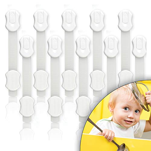 Ultima generazione - [10 pezzi] blocca cassetti per bambini chiusura ante fascetta di sicurezza armadio ferma porta serratura sportelli bambino.