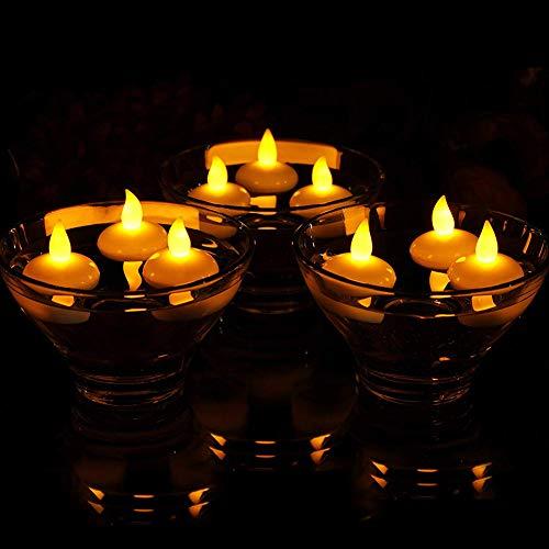 D Schwimmende Kerzen Votivkerzen Wasserdicht Flammenlos und Rauchfrei Batteriebetriebene Kerzenlichter Passen Haus- und Hochzeitsdekoration. (12er Pack, Gelb) ()