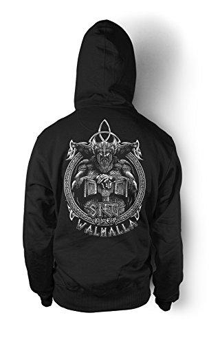 Sieg oder Walhalla Männer und Herren Kapuzenpullover | Odin Wikinger Valhalla Geschenk | M1 FB (L, Schwarz)