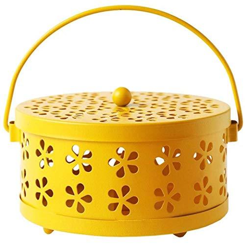 Dyong Räucherkiste für Moskitos Moskito Weihrauch Box Aromatherapie Box Verzinktem Stahl Moskito Spule Hohlspule Frame Brenner Mückenschutz Home Art Dekoration (Color : Yellow) -