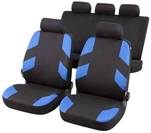 rmg-distribuzione Coprisedili per Panda Versione (2003-2011) compatibili con sedili con airbag, bracciolo Laterale, sedili Posteriori sdoppiabili Colore Nero Blu R23S0186