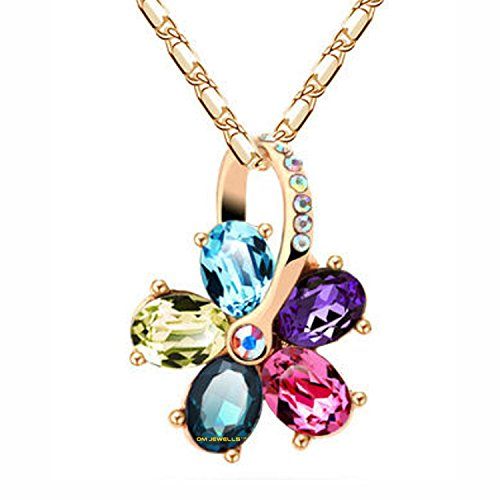 Om Jewells Bright Multicolored Wheel Shape Crystal Jewellery Pendant Necklace PD1000819
