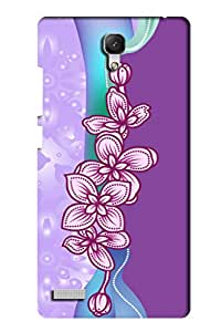 AMAN Violet Flower Pattern 3D Back Cover for Xiaomi Redmi Note 4G