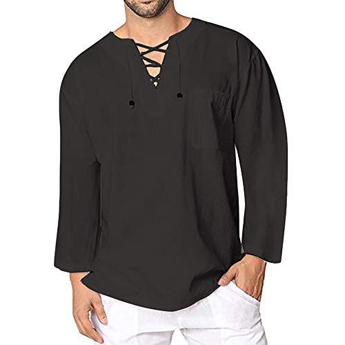 DNOQN Sport T Shirt Sweater Herren Gestreiftes Shirt Herren Herbst Winter Vintage Lässig Leinen Spitze Langarm T-Shirt Top Bluse XXL
