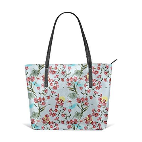Damen Tasche aus weichem Leder Schultertasche Flamingo mit rosa Flora und Sun Fashion Handtaschen Umhängetasche Geldbörse