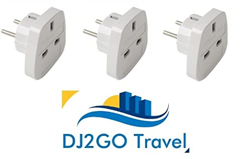 3x HQ UK to European Plug Travel Adaptors EU TRAVEL PLUG EUROPE with ZIP seal carry bag DJ2GO Travel Colour of Plug may