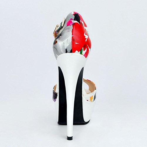Kolnoo Damen Faschion 14cm Absatz römische Art Blick Zehe Plattform reizvolle Sandelholze White