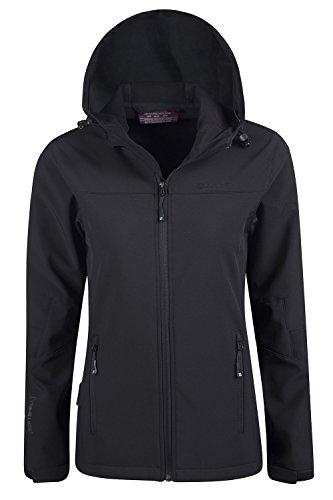 Mountain Warehouse Exodus Wasserbeständige Softshelljacke für Damen - Atmungsaktiver Damenmantel, abgerundete Rückenpartie - Regenmantel für den Alltag und kaltes Wetter Schwarz DE 34 (EU 36) - 3