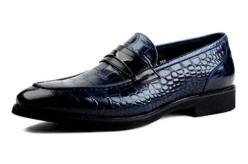 Dilize Herren Premium Alligator Muster Rutschfest auf Oxford in Leder, Blau - blau - Größe: 42 EU (Moc Penny)