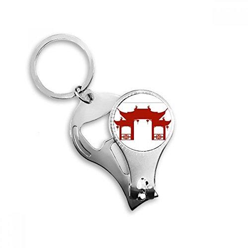 China Gate (China Gate Kultur Silhouette Illustration Muster Metall Schlüsselanhänger Ring Multifunktions-Nagelknipser Flaschenöffner Auto Schlüsselanhänger Best Charm Geschenk)