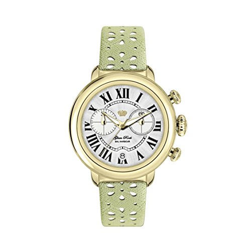 Glam Rock Women's Bal Harbour 40mm Green Leather Band Gold Plated Case Swiss Quartz Analog Watch GR77137N