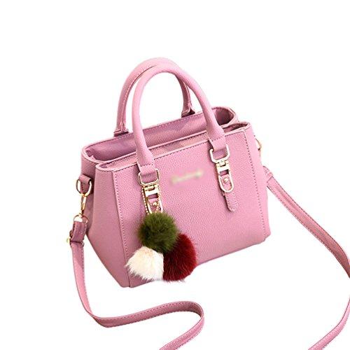 Baymate Donna Borse a Mano in PU Pelle Moda Borse A Spalla Tote Borsa con Mutil tasche Pink