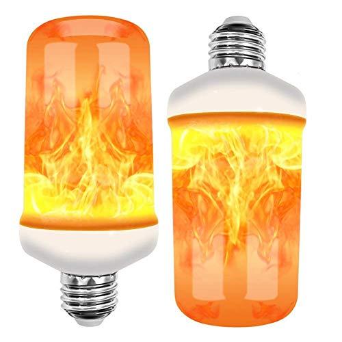 ZDYLM-Y Flamme Glühbirne (2 Stück), 4 Modi Flammenlampen mit Schwerkraftsensor, Basis E26 / 27, für Atmosphäre/Halloween/Dekoration