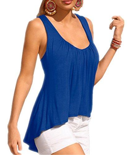 ZONVENL Basic Donna Halter Top Senza Maniche Maglietta Spalle Blusa Sexy Elegante Camicetta Bluse Puro Colore T-Shirt Cute Bretelle Blue