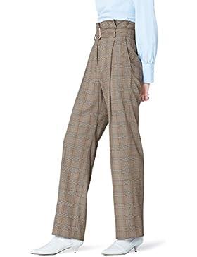 FIND Pantalón de Cuadros con Cintura de Fuelle para Mujer