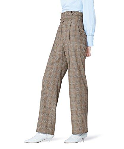 FIND Pantalón de Cuadros con Cintura de Fuelle para Mujer, Multicolor (Check), 42 (Talla del fabricante: Large)