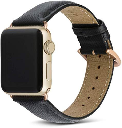 dbramante1928 Echtleder-Uhrenarmband für Apple Watch (38/40mm) - [Modell: Madrid, Saffianoleder, Handgefertigt, Farbe: night schwarz/gold] - AW38NBGO5141