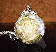 Collar Elegante con Flor de Rosa Blanca Natural, Colgante de Flor Seca con Cadena Plateada Incluida