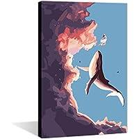 Bricolaje pintura al óleo pintura por número kits para niños pared paintings-dolphin chica 16x 20pulgadas