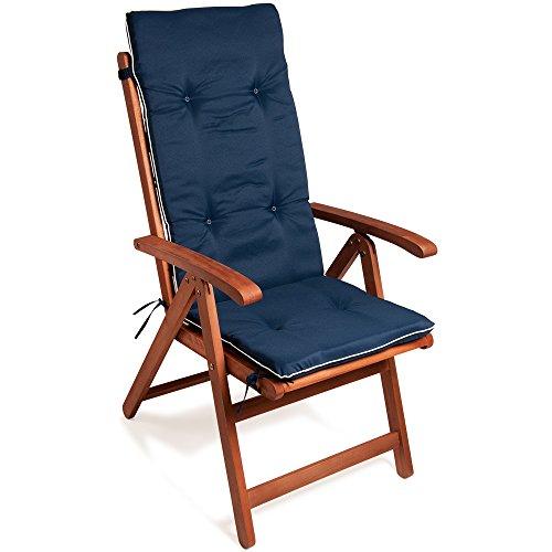 Detex® Stuhlauflage Vanamo | 6er Set Wasserabweisend | Hochlehner Auflage Sitzauflage Stuhlkissen Polsterauflage Blau