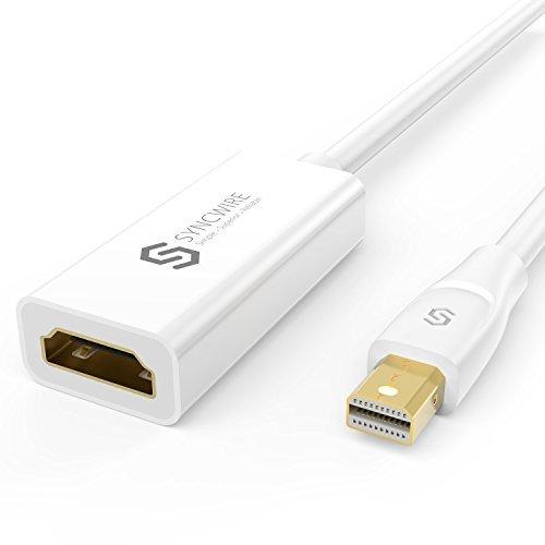Syncwire Mini DisplayPort auf HDMI Adapter - Thunderbolt auf HDMI Adapter für Apple, Macbook Air/Pro, iMac, Microsoft Surface/ Surface Pro, Monitor, Projektor und weitere - 20cm Weiß