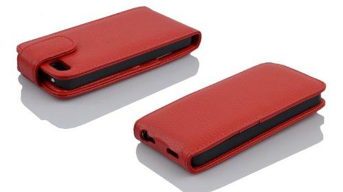 Apple iPhone 5 / 5S Flip Hülle in ROT von Cadorabo - Handy-hülle in Kunstleder für iPhone 5 / 5S Case Cover Schutz-hülle Etui Tasche in KIRSCH-ROT KIRSCH-ROT
